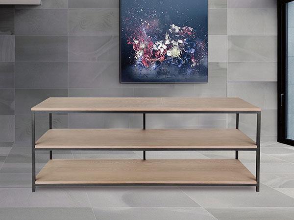 mesa metal tapa madera