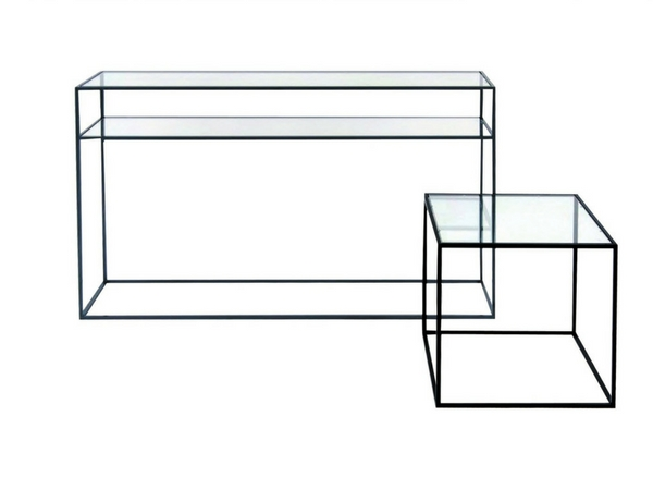 consola-mesa metal tapa cristal Ref. 70000105-106-107-108 Med. 80-100x35x75 y 50x50x50 y 60x60x60